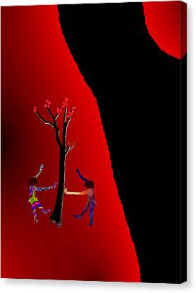 Canvas Print featuring the digital art Dancing Around A Tree by Asok Mukhopadhyay
