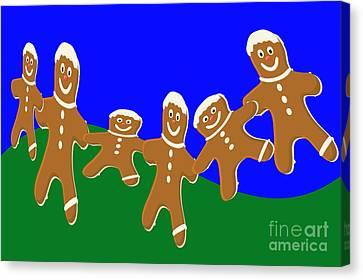 Digital Installation Art Canvas Print - Dancing Cookies by Tina M Wenger