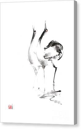 Dancing Cranes Japanese Artwork Canvas Print