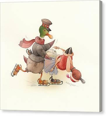 Dancing Ducks 03 Canvas Print by Kestutis Kasparavicius