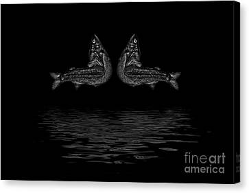 Dancing Fish At Night 2 Canvas Print