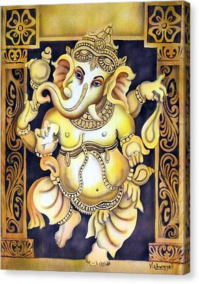Dancing Ganesh Canvas Print by Vishwajyoti Mohrhoff