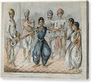 Drummer Canvas Print - Dancing Girls And Musicians by British Library