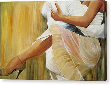 Canvas Print featuring the painting Dancing Legs by Sheri  Chakamian