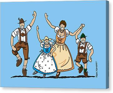 Munich Canvas Print - Dancing Oktoberfest Family by Frank Ramspott