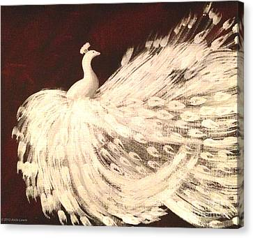 Dancing Peacock Cream Canvas Print by Anita Lewis