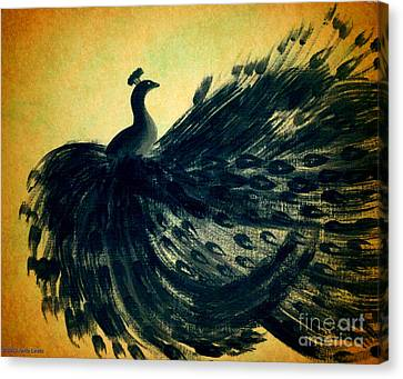 Dancing Peacock Gold Canvas Print by Anita Lewis