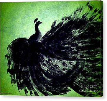 Dancing Peacock Green Canvas Print by Anita Lewis