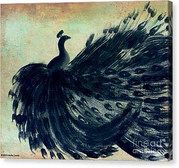 Dancing Peacock Mint Canvas Print by Anita Lewis
