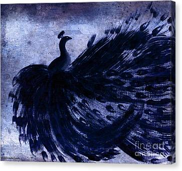 Dancing Peacock Navy Canvas Print by Anita Lewis