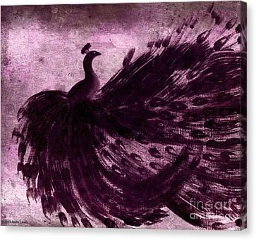 Dancing Peacock Plum Canvas Print by Anita Lewis