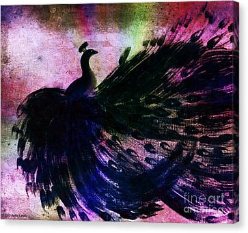 Dancing Peacock Rainbow Canvas Print by Anita Lewis