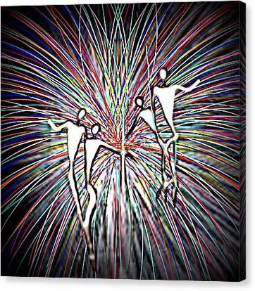 Dancing Puppets Canvas Print by Karunita Kapoor