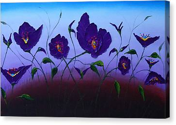 Dancing Purple Poppies 1 Canvas Print by Portland Art Creations