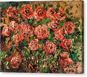 Canvas Print featuring the painting Dancing Red Roses by Laurie Lundquist
