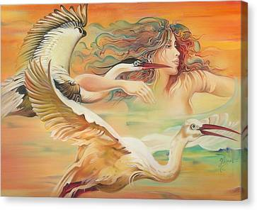 Dancing With Birds Canvas Print by Anna Ewa Miarczynska
