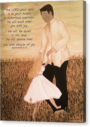 Dancing With Daddy Canvas Print by Michelle Bentham
