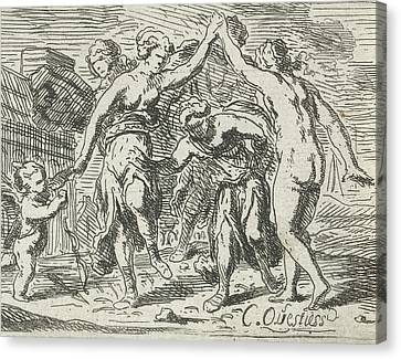 Dancing Women And Amor, Catharina Questiers Canvas Print by Catharina Questiers