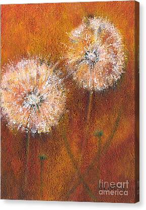 Canvas Print featuring the painting Dandelion Clocks by Sandy Linden