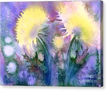 Canvas Print featuring the painting Dandelions by Teresa Ascone