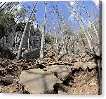 Dangerous Hiking Trail Canvas Print by Susan Leggett