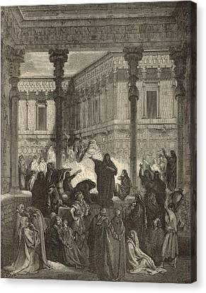 Daniel Confounding The Priests Of Bel Canvas Print by Antique Engravings