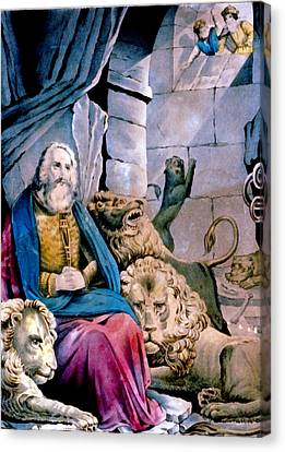 Daniel In The Lions Den Canvas Print by Currier and Ives