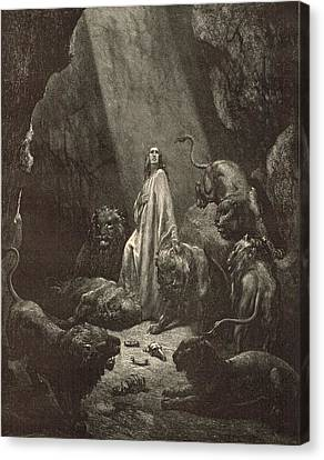 Daniel In The Lions' Den Canvas Print by Antique Engravings