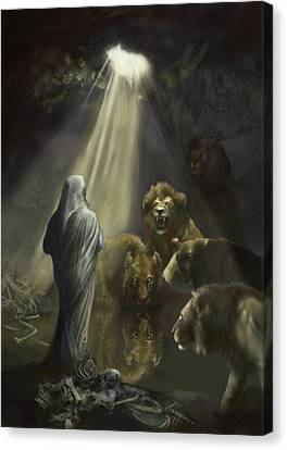 Daniel In The Lions Den Canvas Print by Matt Kedzierski