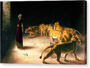 Briton Riviere Canvas Print - Daniel's Answer To The King by Celestial Images