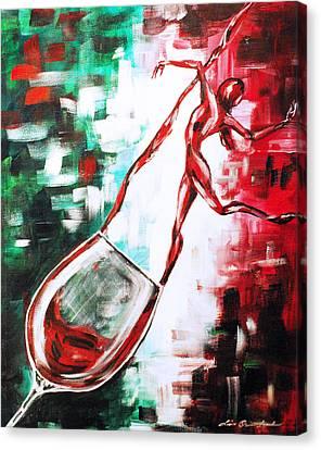 Dans Le Vin Mistero Canvas Print by Lisa Owen-Lynch