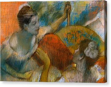 Girl Studying Canvas Print - Danseuse A L'eventail by Edgar Degas