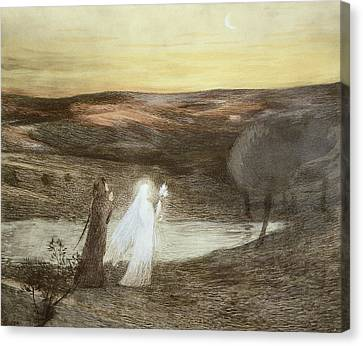 Glowing Canvas Print - Dante And Beatrice, From Lestampe by French School