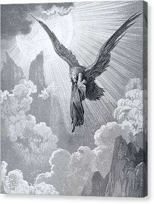 Dante And The Eagle Canvas Print by Gustave Dore