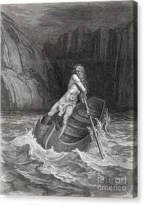 Dante's Inferno, Charon On The Styx Canvas Print