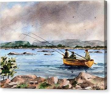 Mayo Dapping On Lough Mask Canvas Print by Val Byrne