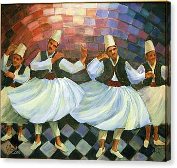 Canvas Print featuring the painting Daraweesh Dancing by Laila Awad Jamaleldin