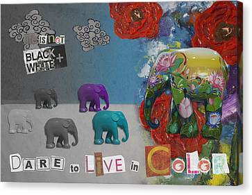 Dare To Live In Color Canvas Print by Nola Lee Kelsey