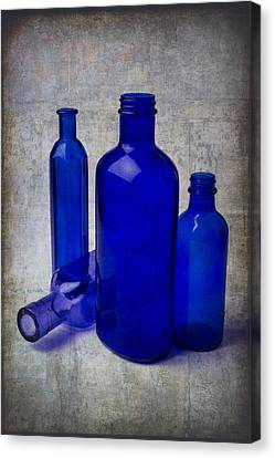 Container Canvas Print - Dark Blue Bottles by Garry Gay