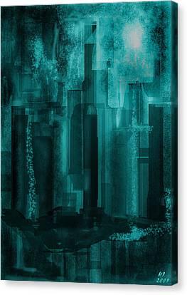 Canvas Print featuring the digital art Dark City by Martina  Rathgens