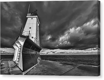 Architecture Canvas Print - Dark Clouds Black And White by Sebastian Musial