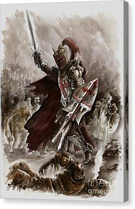 Dark Crusader Canvas Print by Mariusz Szmerdt