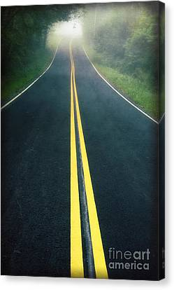 Dark Foggy Country Road Canvas Print by Edward Fielding