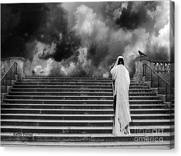 Dark Gothic Black White Infrared Grim Reaper On Paris Steps With Black Raven And Storm Cloud Canvas Print by Kathy Fornal