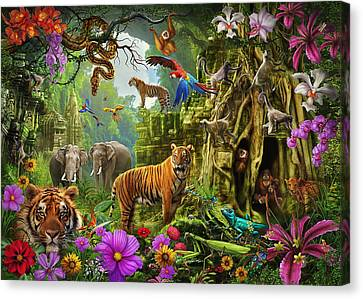 Canvas Print featuring the drawing Dark Jungle Temple And Tigers by Ciro Marchetti