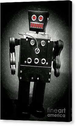 Dark Metal Robot Oil Canvas Print by Edward Fielding