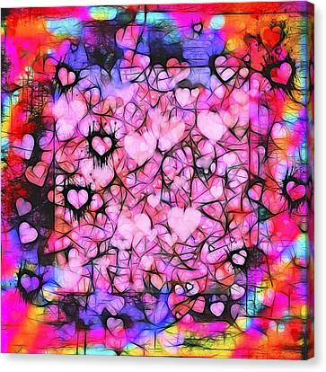 Turquoise Stained Glass Canvas Print - Moody Grunge Hearts Abstract by Marianne Campolongo