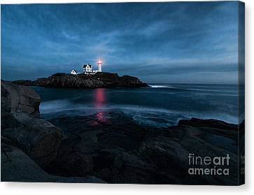 Dark Night At The Nubble Canvas Print by Sharon Seaward
