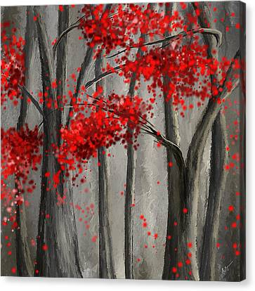 Dark Passion- Red And Gray Art Canvas Print