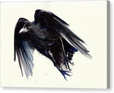 Sombre Canvas Print - Dark Raven In Flight - Crow Flying by Tiberiu Soos